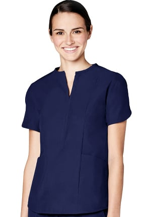 Pro by Adar Women's Notch Round Neck Solid Scrub Top