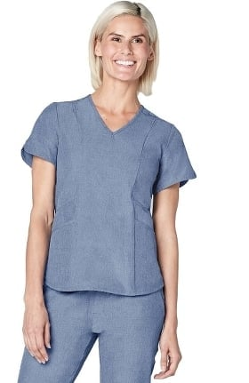 Pro by Adar Women's Melange Tailored V-Neck Solid Scrub Top