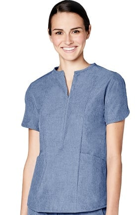 Pro by Adar Women's Melange Round Notch Neck Solid Scrub Top