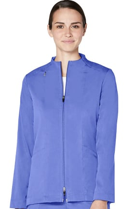 Pro by Adar Women's Funnel Neck Zip Front Solid Scrub Jacket