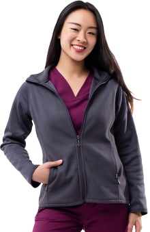 Pro by Adar Women's Performance Fleece Solid Scrub Jacket