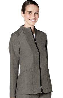 Pro by Adar Women's Melange Funnel Neck Zip Front Solid Scrub Jacket
