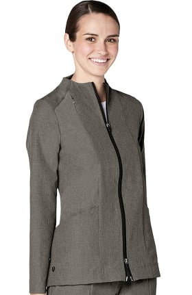 Pro by Adar Women's Melange Funnel Neck Zip Front Solid Scrub Jacket