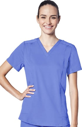 Responsive by Adar Women's Active V-Neck Solid Scrub Top