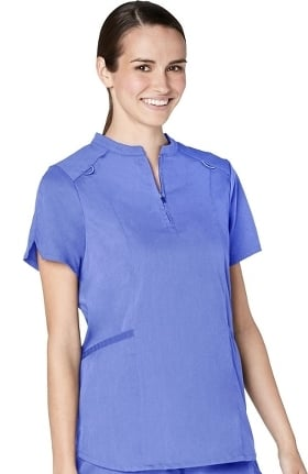 Responsive by Adar Women's Zip Neck Stand Collar Solid Scrub Top