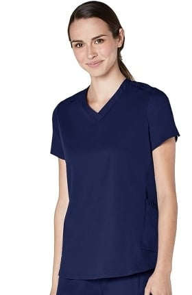 Responsive by Adar Women's Active Modern V-Neck Solid Scrub Top