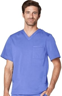 Responsive by Adar Men's Active V-Neck Solid Scrub Top