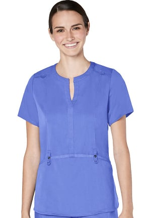 Responsive by Adar Women's Notch Neck Solid Scrub Top