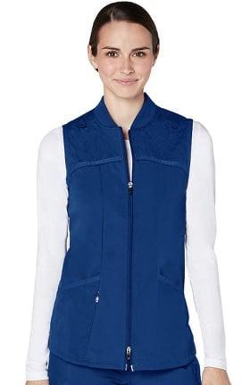 Responsive by Adar Women's Active Quilted Zip Front Bomber Scrub Vest
