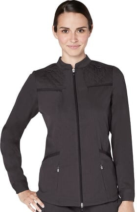 Responsive by Adar Women's Active Quilted Zip Front Solid Scrub Jacket