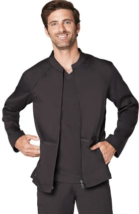 Responsive by Adar Men's Active Zip Front Solid Scrub Jacket