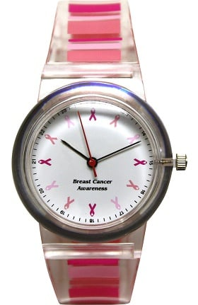 Scrub Stuff Women's Share The Care Pink Ribbon Awareness Pink Stripe Jelly Watch