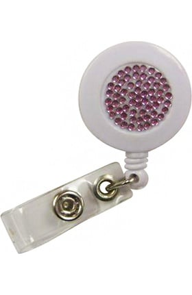 Scrub Stuff White Bling Retractable Badge Holder