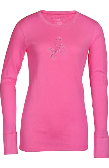 Scrub Stuff Women's Bling Ribbon BCA Print Thermal T-Shirt