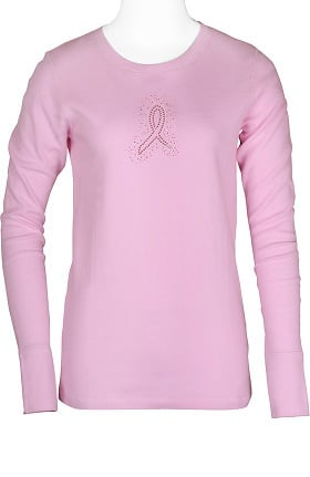 Scrub Stuff Women's Bling Ribbon Long Sleeve Thermal T-Shirt