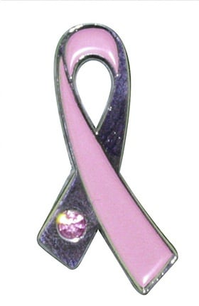 Scrub Stuff Women's Pink Ribbon Pin with Stone