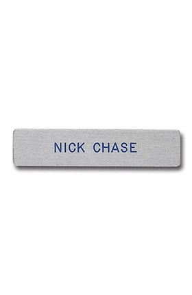 Arthur Farb Silver Metal Bar Engraved Name Tags Pin