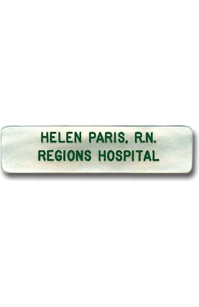 Arthur Farb Large Ocean Pearl Engraved Name Tag with 2 Lines (26 Characters Max. Each Line) Pin