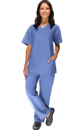 Stretch Luxe by allheart Women's V-Neck Top & Straight Leg Pant Scrub Set