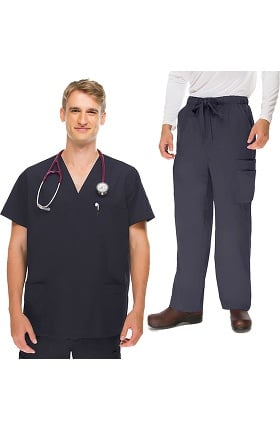 Clearance Classics by allheart Men's 5 Pocket Scrub Top & Zip Fly Cargo Scrub Pant Set
