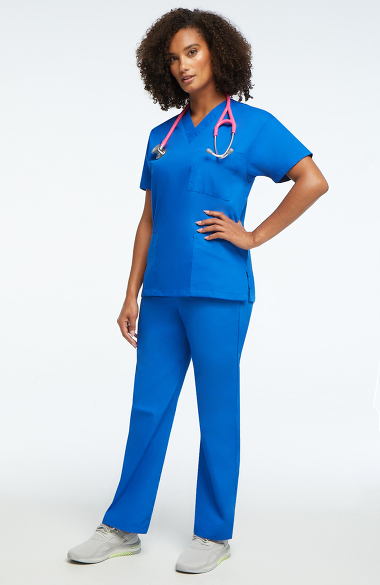 c5656e15fa0 Basics by allheart Women's 3 Pocket Scrub Top & Elastic Waist Scrub ...