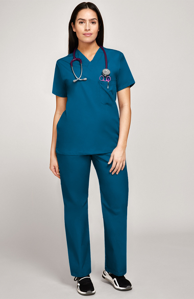 Basics by allheart Women's 3 Pocket Scrub Top & Elastic Waist Scrub Pant Set