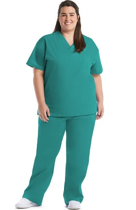 Basics by allheart Women's 3 Pocket Scrub Top & Elastic Waist Scrub Pant Set