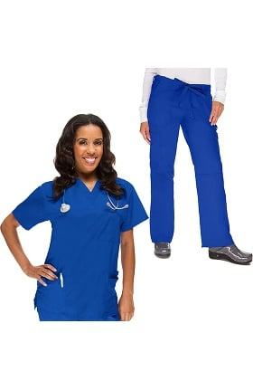 Classics by allheart Women's 4 Pocket Scrub Top & Cargo Scrub Pant Set