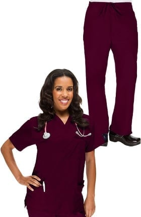 Classics by allheart Women's V-Neck Scrub Top & Drawstring Scrub Pant Set