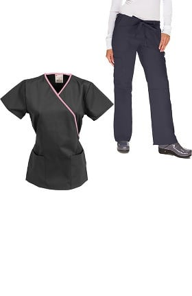 Classics by allheart Women's Mock Wrap Scrub Top & Drawstring Scrub Pant Set