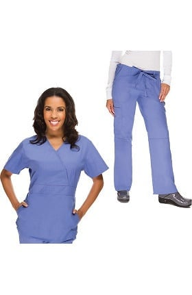 Classics by allheart Women's Obi Mock Wrap Scrub Top & Drawstring Scrub Pant Set