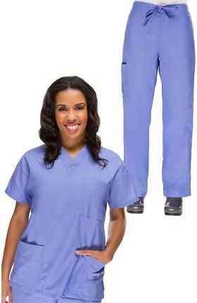 bd9e6427d3d Basics by allheart Women's V-Neck Scrub Top & Drawstring Cargo Scrub Pant  Set
