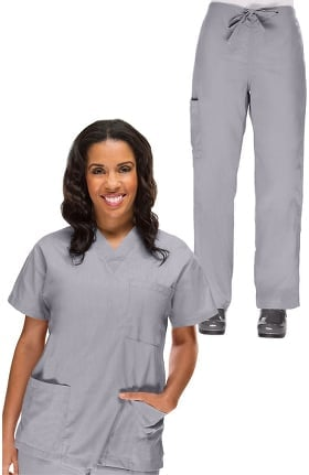 Basics by allheart Women's V-Neck Scrub Top & Drawstring Cargo Scrub Pant Set