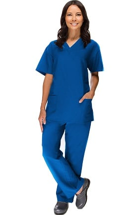 Clearance Stretch Luxe by allheart Women's V-Neck Top & Flare Leg Pant Scrub Set