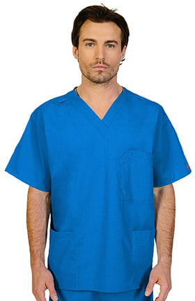 Ascent by allheart Unisex V-Neck Chest Pocket Solid Scrub Top