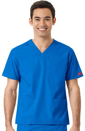 Clearance Ascent by allheart Unisex V-Neck Chest Pocket Solid Scrub Top