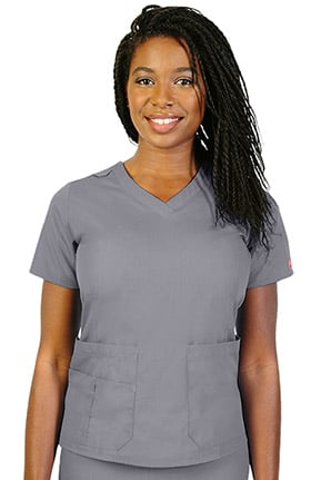 Ascent by allheart Women's V-Neck Solid Scrub Top