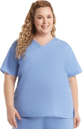 Clearance Ascent by allheart Women's Mock Wrap Solid Scrub Top