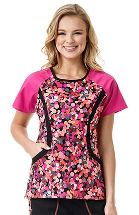 Clearance grace™ Exclusively at allheart Women's Round Neck Colorblock Abstract Print Scrub Top