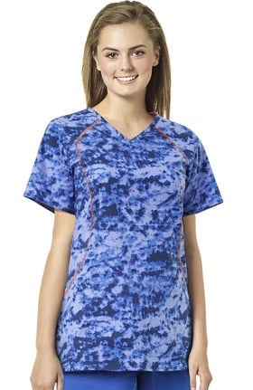 grace™ exclusively at allheart Women's Sporty V-Neck Abstract Print Scrub Top