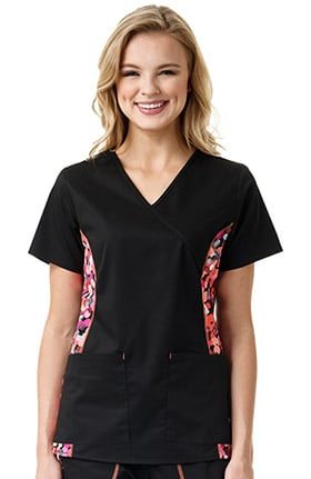 grace™ Exclusively at allheart Women's Mock Wrap Abstract Print Side Panel Scrub Top