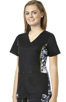 Clearance grace™ exclusively at allheart Women's Mock Wrap Abstract Print Side Scrub Top