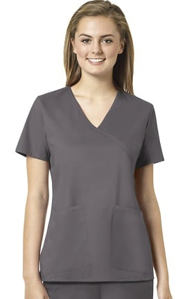 Clearance grace™ Exclusively at allheart Women's Mock Wrap Tossed Pocket Solid Scrub Top