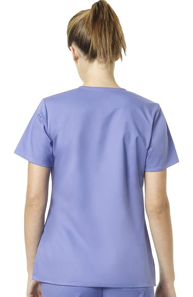 9e09cc8c9d7 Clearance Exclusively at allheart Women's Mock Wrap Tossed Pocket Solid  Scrub Top