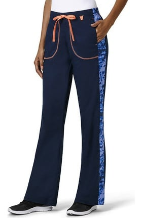 Clearance grace™ Exclusively at allheart Women's Flare Leg Abstract Print Side Panel Scrub Pant