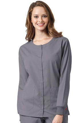 Ascent by allheart Women's Round Neck Solid Scrub Jacket