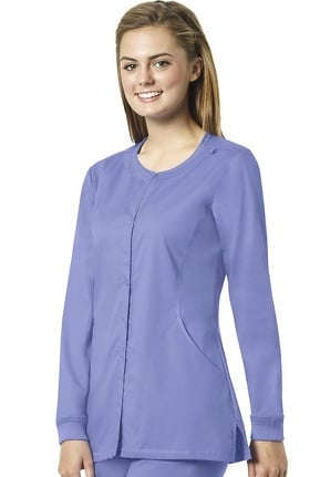 Clearance grace exclusively at allheart Women's Snap Front Warm Up Solid Scrub Jacket
