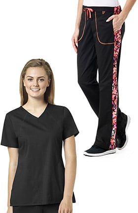 grace™ Exclusively at allheart Women's Sporty V-Neck Solid Scrub Top & Flare Leg Print Side Panel Scrub Pant Set