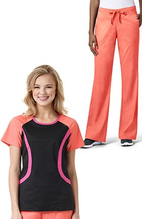 grace™ Exclusively at allheart Women's Round Neck Colorblock Solid Scrub Top& Flare Leg Drawstring Scrub Pant Set