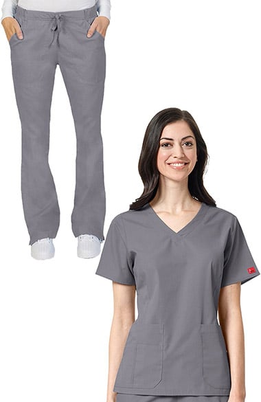 Ascent by allheart Women's V-Neck Scrub Top & Drawstring Cargo Scrub Pant Set